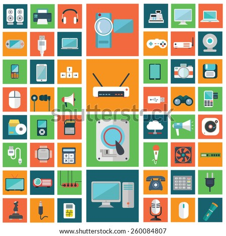 Set of modern flat electronic devices icons. - stock vector