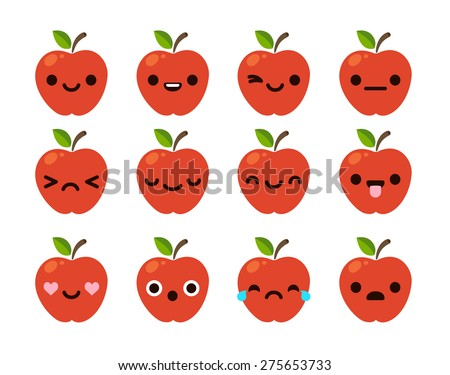 Set of 12 modern flat emoticons: cute cartoon red apple with different emotions. - stock vector