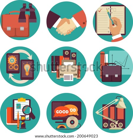 Set of  modern flat icons on business and finance details Refinement - stock vector