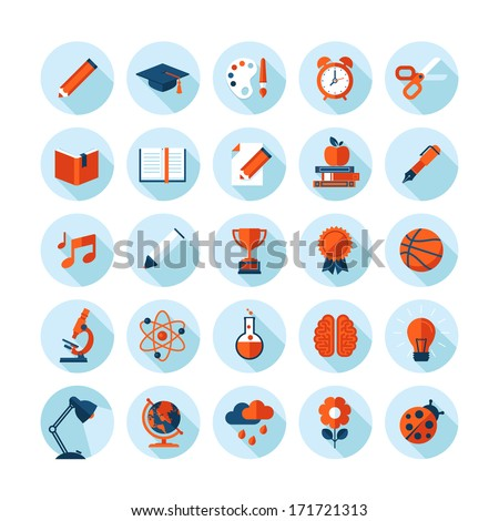 Set of modern flat icons with long shadow in stylish colors on education, sport, science, biology, art and music    - stock vector