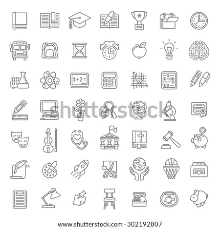 Set of modern flat line art vector icons of school subjects, activities, education and science symbols on white. Concepts for web site, mobile or computer apps, infographics, presentations, promotion - stock vector