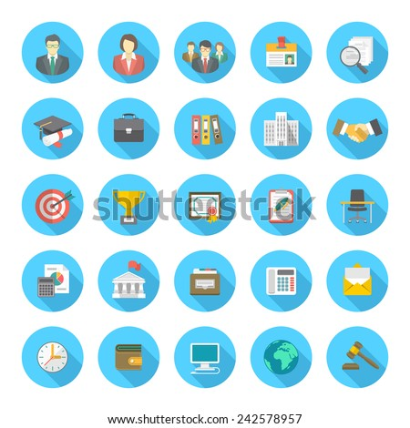 Set of modern flat round vector icons with long shadows, suitable for business resume and the searching of human resources for a company - stock vector