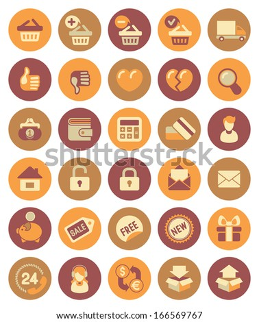 Set of modern flat shopping icons in circles - stock vector