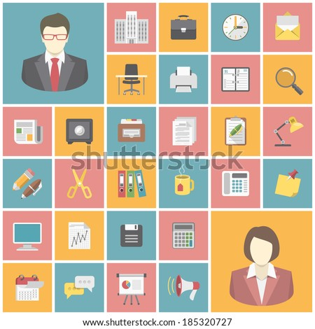 Set of modern flat square office icons - stock vector
