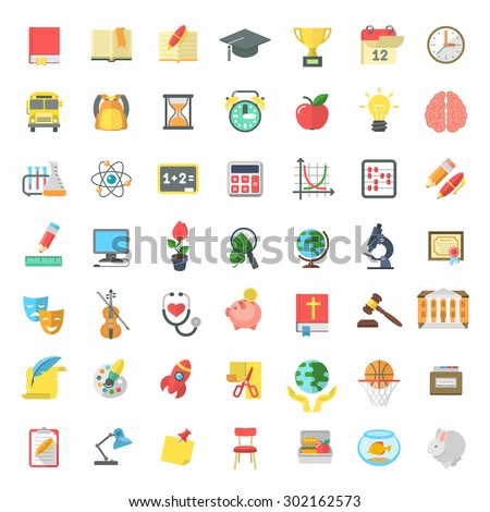 Set of modern flat vector icons of school subjects, activities, education and science symbols isolated on white. Concepts for website, web services, apps, infographics, promotional printed materials - stock vector