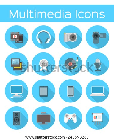 Set of modern flat vector multimedia icons in blue circles with long shadows. Conceptual symbols of audio, video, web and mobile devices - stock vector