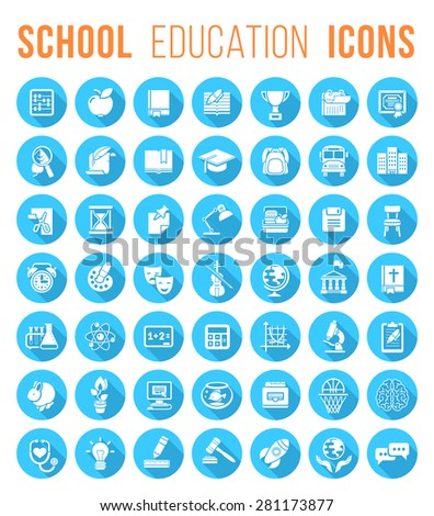 Set of modern flat vector silhouette icons of school subjects, activities, education and science symbols in blue circles with long shadows. Concepts for web site, mobile or computer apps, infographics - stock vector