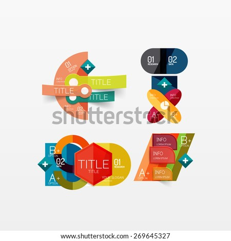 Set of modern geometric infographic web or app layouts, color paper graphics with sample text - stock vector