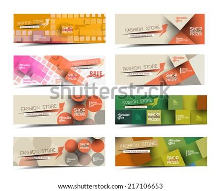 Set Of Modern Global Business Design Banner Template  - stock vector