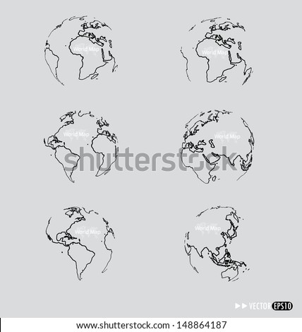 Set of Modern globe drawing concept. Vector illustration. - stock vector