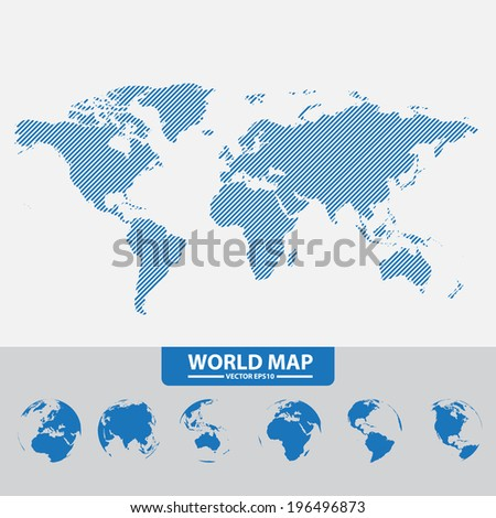 Set of modern globes - stock vector