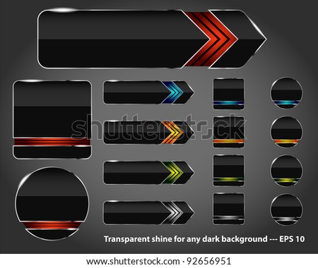 Set of modern glossy web buttons. Place for text or icons. - stock vector