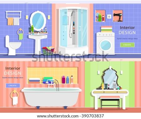 Set of modern graphic bathroom interiors: bath, showers cabin, washbasin, mirror, toilet, dressing table. Flat style vector illustration. - stock vector