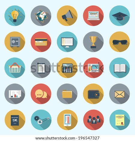 Set of modern icons in flat design with long shadows and trendy colors for web, mobile applications, business, social networks etc. Vector eps10 illustration - stock vector