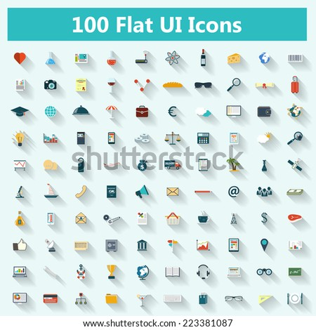 Set of modern icons in flat design with long shadows for banners, covers, brochures, logos, mobile applications. Vector eps10 illustration - stock vector