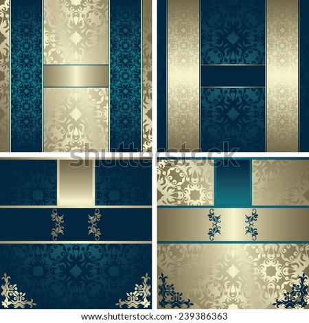 Set of modern invitations on vintage background. Can be used as wedding invitation    - stock vector