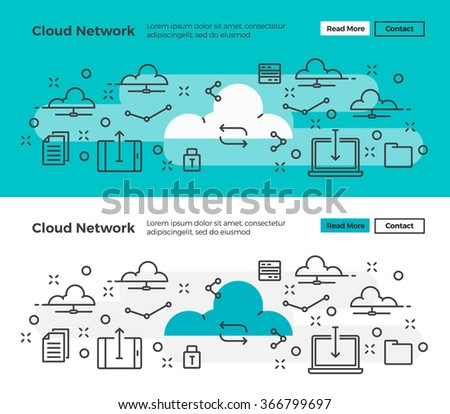 Set of Modern line design concept of Cloud Computing and Online Storage and Data . Flat line design for Website Element ,Web Template , Web Banner and promotional materials. - stock vector