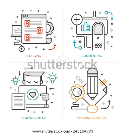 Set of modern linear icons of blogging, creating and publishing content, commenting and interacting with readers online, generating leads. Flat design vector concepts isolated on white background - stock vector