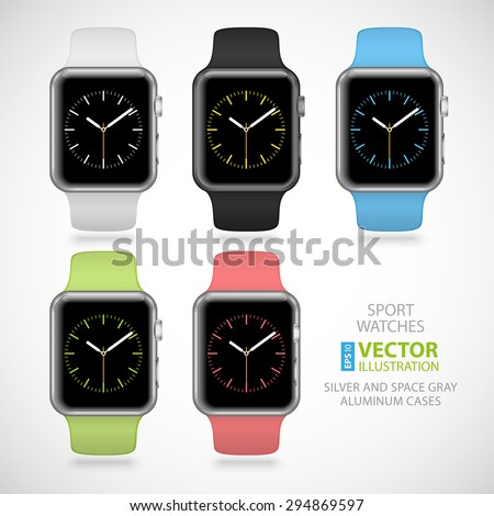 Set of 5 modern shiny sport smart watches with white, black, green, blue and pink plastic bands and digital clock faces isolated on white background. RGB EPS 10 vector illustration - stock vector