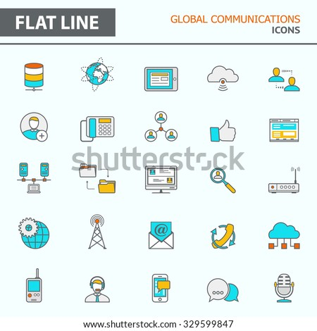 Set of modern simple line icons in flat design. Trendy infographic global communication concept elements for banners, layouts, corporate  brochures, templates and web sites. Vector eps10 illustration - stock vector