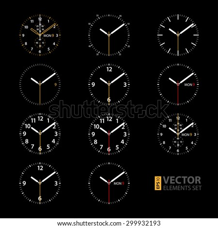 Set of 11 modern smart watches white round dials on black background. RGB EPS 10 vector illustration - stock vector