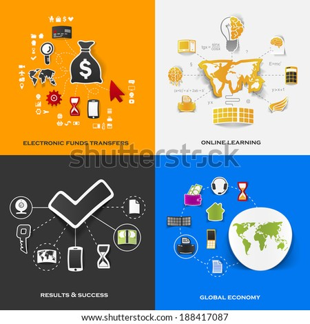 Set of modern stickers. Concept of electronic funds transfers, online learning, results & success, global economy. Vector eps10 illustration - stock vector