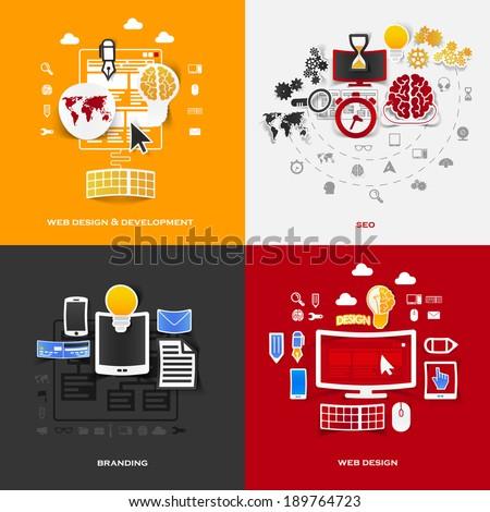 Set of modern stickers. Concept of web design & development, seo, branding, web design. Vector eps10 illustration - stock vector