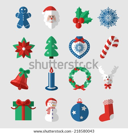 Set of modern style Christmas flat icons.  Vector illustration. - stock vector