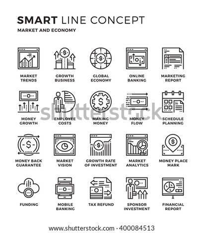 Set of modern thin line icon collection concept of Market, Economy, Finance, Financial, Investment, Online banking.  Pixel perfect icon design for Web Graphic , Mobile app ,Vector Design illustration. - stock vector