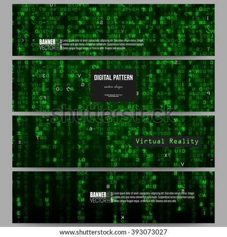 Set of modern vector banners. Virtual reality, abstract technology background with green symbols, vector illustration. - stock vector