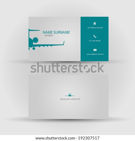 Set of modern vector business card template - front and back side - stock vector