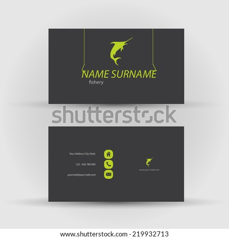 Set of modern vector business card template with fish - stock vector