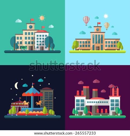 Set of modern vector flat design conceptual city illustrations - stock vector