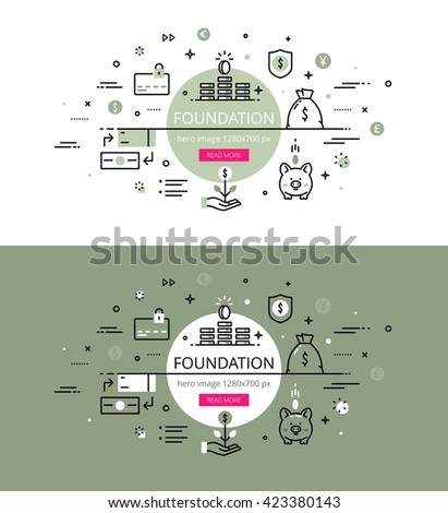 Set of modern vector illustration concepts of making funds. Line flat design hero banners for websites and apps with call to action button, ready to use - stock vector