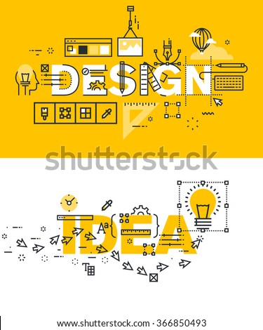 Set of modern vector illustration concepts of words design and idea. Thin line flat design banners for website and mobile website, easy to use and highly customizable. - stock vector