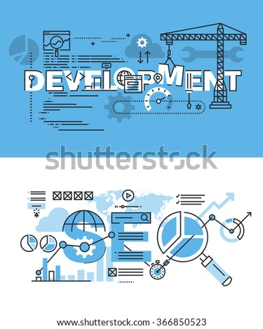 Set of modern vector illustration concepts of words development and SEO. Thin line flat design banners for website and mobile website, easy to use and highly customizable. - stock vector