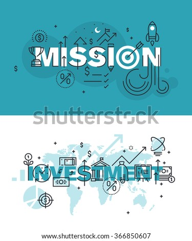 Set of modern vector illustration concepts of words mission and investment. Thin line flat design banners for website and mobile website, easy to use and highly customizable. - stock vector