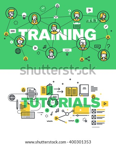 Set of modern vector illustration concepts of words training and tutorials. Thin line flat design banners for website and mobile website, easy to use and highly customizable. - stock vector