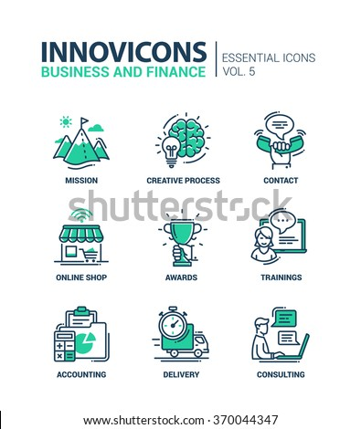 Set of modern vector office thin line flat design icons and pictograms. Collection of business, finance infographics objects and web elements. Mission, creative, process, awards, delivery, consulting - stock vector