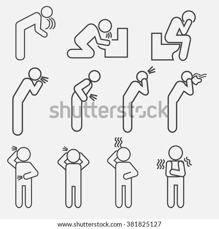 Set of modern vector outline icons of poor health.  Icons of vomiting, diarrhea, cough, fever, dizziness, headache, runny nose, tremors, chills. Icons of person with poor health. - stock vector