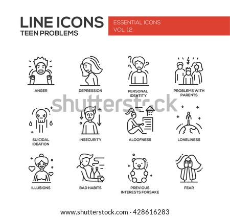 Set of modern vector plain line design icons and pictograms of teenager problems. Anger, depression, personal identity, problems with parents, insecurity, loneliness, illusions, bad habits, fear - stock vector