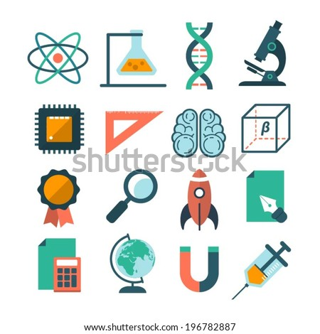set of modern vector science icons - stock vector