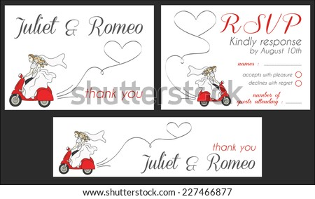 Set of modern wedding invitation template, scooter love, thank you and response rsvp card - stock vector