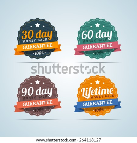 Set of money back badges in flat style. 30, 60, 90 days and Lifetime guarantee. Vector illustration. - stock vector