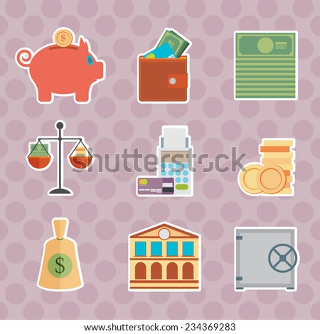 Set of money, finance, banking icons flat design style - stock vector