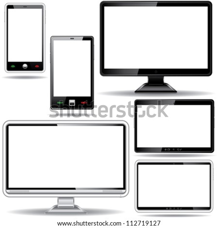 Set of monitor, tablet and smart phone isolated on white background - stock vector