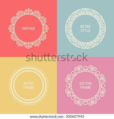 Set of mono line vintage frames on Red, Grey, Gold and Pink background. Perfect for greeting cards, wedding invitations, retro parties. Vector logo template, labels and badges - stock vector
