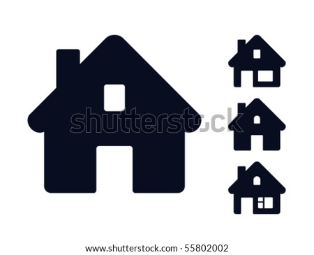 Set of monochromatic houses. Web icons collection - stock vector