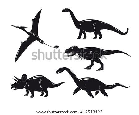 Set of monochrome dinosaurs isolated on white background. Vector illustration. - stock vector
