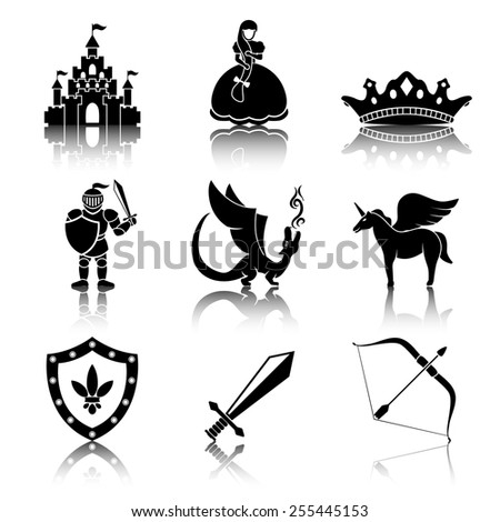 Set of monochrome fairytale (game) icons with reflections  - sword, bow, shield, knight, dragon, princess, crown, unicorn, castle. Vector - stock vector